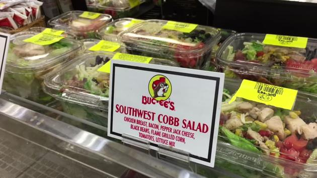 <div class='meta'><div class='origin-logo' data-origin='none'></div><span class='caption-text' data-credit=''>Want to eat right? Salads are commonplace in Buc-ee's cold cases.</span></div>