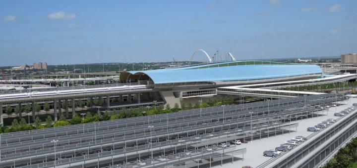 從三一河流域望向西南的子彈火車站東北的停車場結構的視圖。